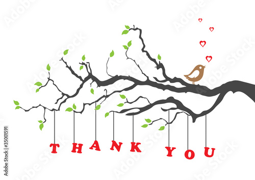 'Thank you' greeting card with bird