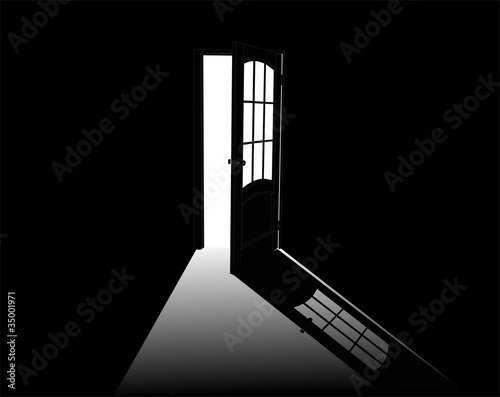 open door outline illustration