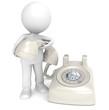 3D little human character with a Telephone, retro plastic