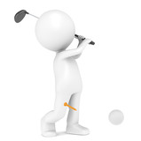 3D little human character Playing Golf. Ball and Tee