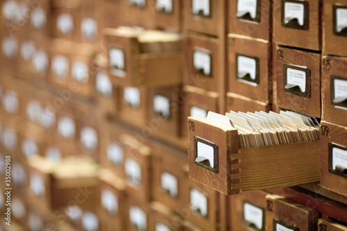 Leinwanddruck Bild database concept. vintage cabinet. library card or file catalog.