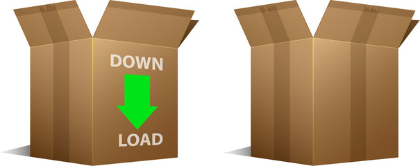 Vector Download icon and blank cardboard boxes