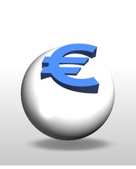 An illustration of 3d euro symbol on white ball