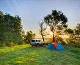 Automobile and camp on sunrise - 35006917