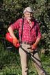 Man mowing grass
