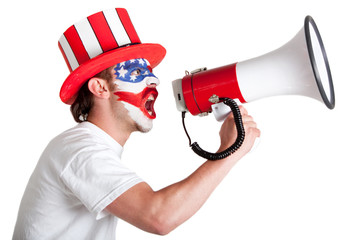 American man shouting