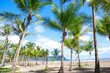 Beautiful tropical beach with palmtrees in Jaco, Costa Rica