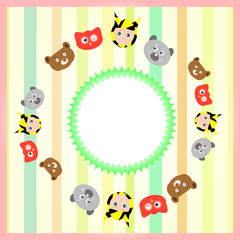 set cute cartoon animal background with vintage circle