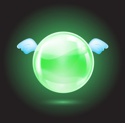 green crystal ball with blue wings