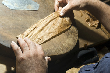 hand rolling cigar production