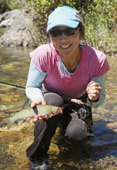Japanese woman fishing