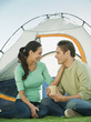 Hispanic couple camping