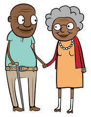 Happy old black couple