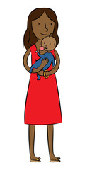 Dark skin mother holding her baby