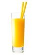 Orange juice in highball glass with a drinking straw. Isolated o