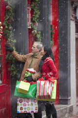 Couple shopping at Christmastime