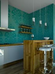 Wohndesign - Küche türkis mit Holz