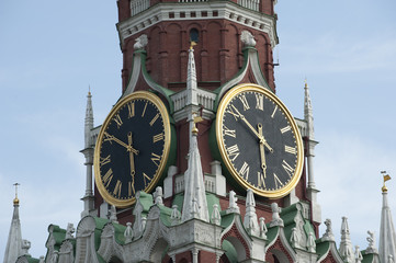 Clock on Kremlin in Moscow