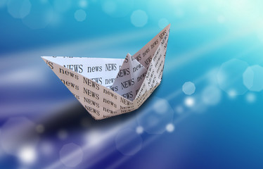 paper boat on abstract background