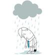 Geschäftsmann, niedergeschlagen, im Regen stehend