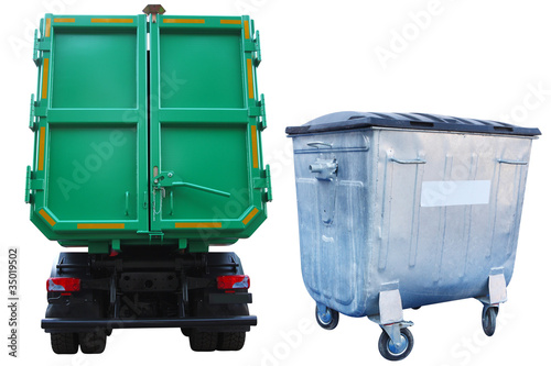 refuse bin and the truck