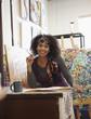 Mixed race artist working in studio