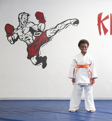 African American boy practicing karate