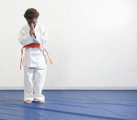 African American boy practicing karate