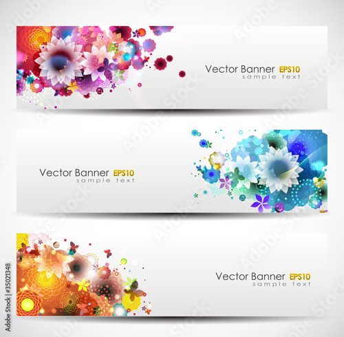 Set Of Floral Headers.