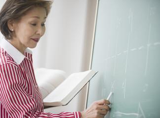 Japanese woman writing on chalk board