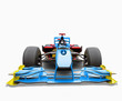 Blue race car with driver