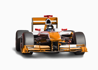 Orange race car with driver