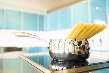 Pasta in pot on stove
