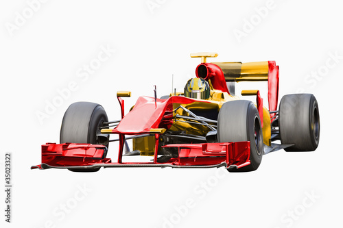 Red race car with driver