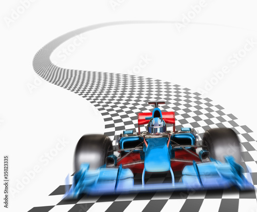Blue race car driving on checkerboard road