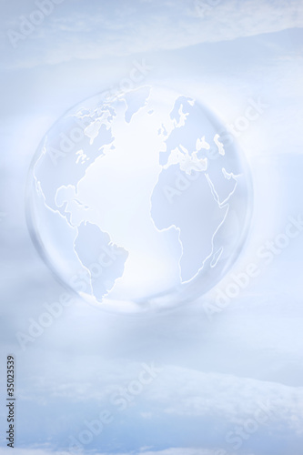 """Large, white glass globe"""
