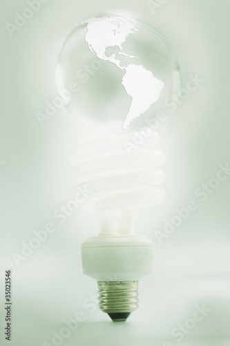 CFL light bulb shaped like globe
