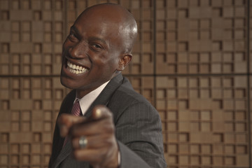 African American businessman pointing