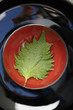 Shiso leaf in red bowl