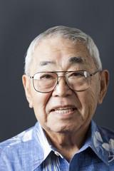 Smiling senior Japanese man