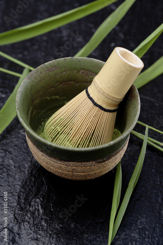 Japanese matcha green tea in bowl