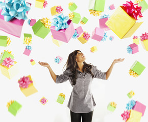 African American woman with falling birthday presents