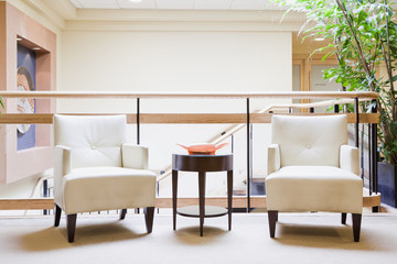 Armchairs in hotel lobby