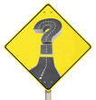 Question Mark Road on Yellow Warning Sign Confusion