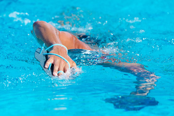 close-up of swimming man