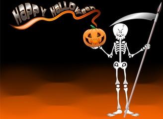 Halloween Scheletro Sfondo-Skeleton Death Background-Vector