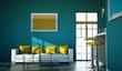 Wohndesign - Sofa weiß mit gelben Kissen