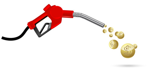red gas nozzle pointing with golden coin