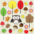 Set of autumnal bright stickers.