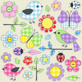 Fototapety Set of nature textile stickers